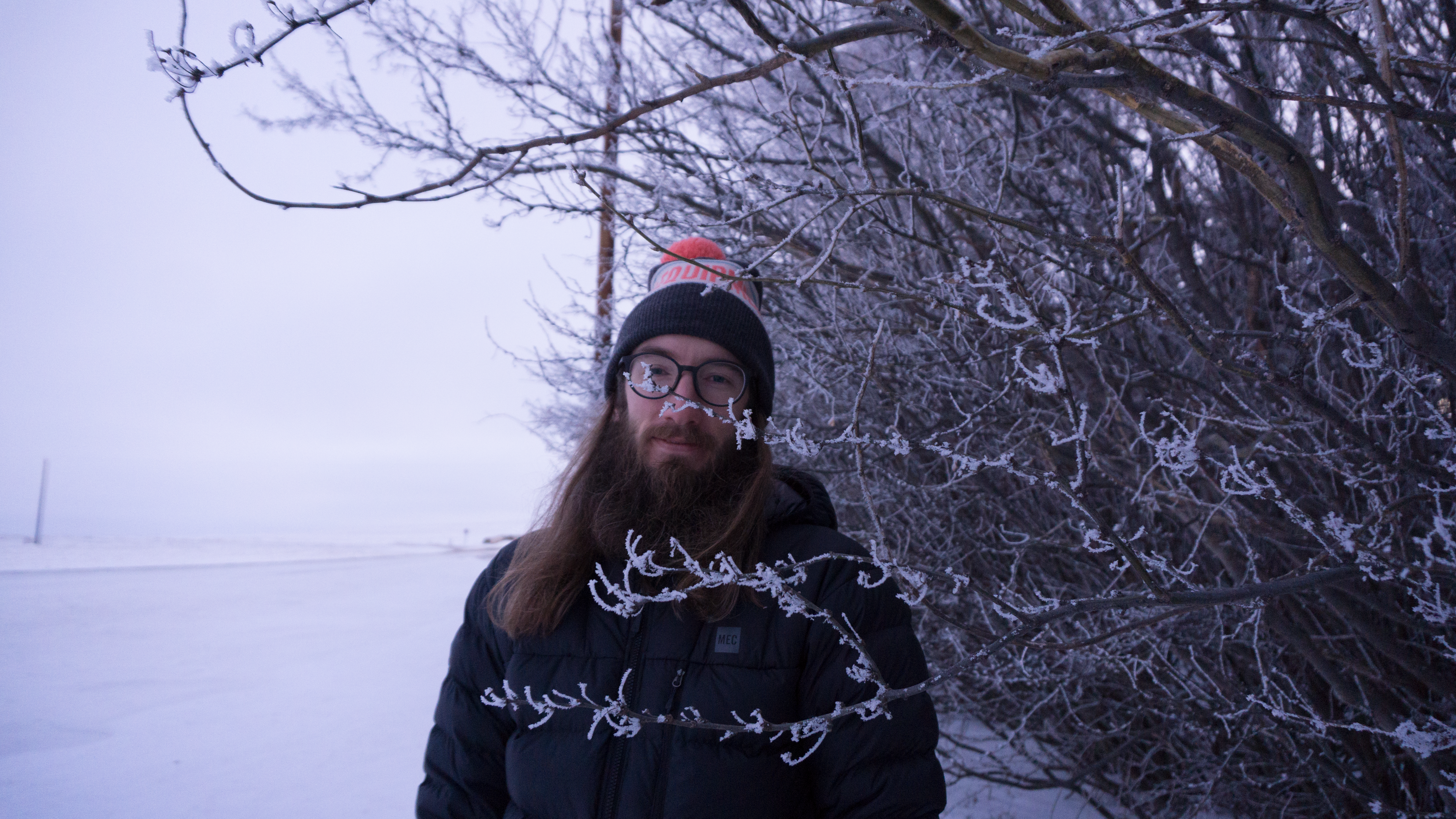 Man standing behind a snowy branch outside in winter